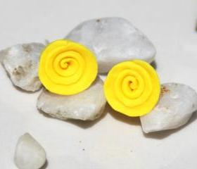 Yellow Rose Stud Earrings Handmade, Yellow Rose Post Earrings