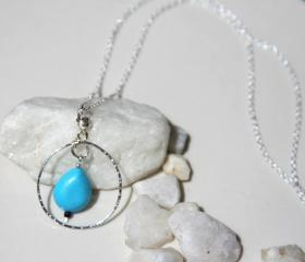 Sterling Silver Circle Karma Necklace with Turquoise Bead Handmade