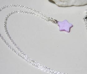 Celestrial Galaxy Purple Star Sterling Silver Necklace Handmade, Purple Shell Necklace