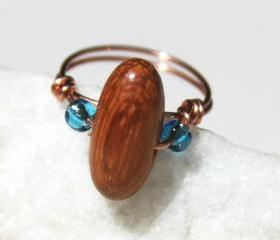 Copper Ring with a Wood and Glass Beads Handmade