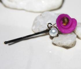 Pearl and Red Rose Bobby Pin
