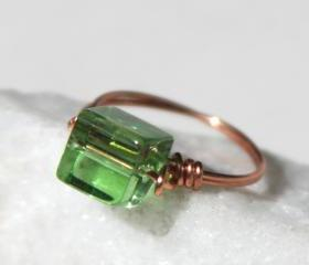 Copper Ring with Green Glass Square