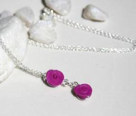Pink Rose Bud Sterling Silver Necklace