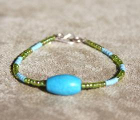 Turquoise Stone and Glass Bracelet Handmade