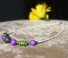 Purple and Green Chunky Bib Necklace Handmade