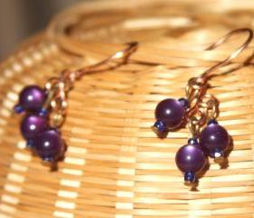 Dark Purple Dangle Copper Earrings Handmade