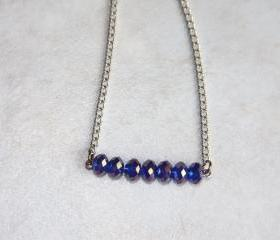 Blue Crystal Bar Necklace