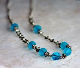 Light Blue Beaded Wire Wrapped Silver Chain Necklace